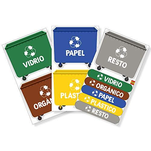 Haberdashery Online 5 Etiquetas Adhesivas para Reciclaje Basura. Pegatinas para la gestión de residuos. Cada una de 9,4 x 8,4 cm. Resistentes al Agua. (XL)