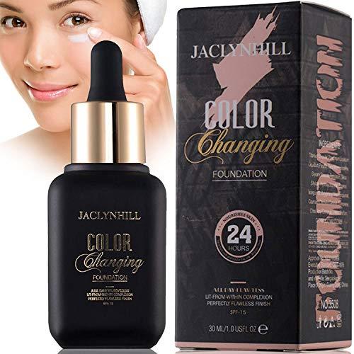 Pulchrie Base de maquillaje, base líquida que cambia de color, oculta arrugas y líneas, crema BB, cubriendo imperfecciones cubierta completa de base líquida - marfil