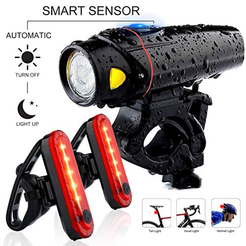 Bike Headlight and 2 LED Rear Bike Tail Lights Set USB Rechargeable Bicycle LED Front and Back Rear Lights Powerful Super Bright Bike Lights for Kids Men Women Road Cycling Safety Flashlight