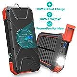 BLAVOR Power Bank Rapide 20000mAh, inductive Charge 10W/7.5W&18W Charge Rapide 3.0,Chargeur Solaire améliorer Batterie Externe,Alimentation d'urgence Portable avec Ports d'entrée Type C