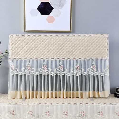 XKMY Cubierta protectora para TV a prueba de polvo para colgar Televisión de encaje púrpura pared superficie curvada cubierta universal para TV (color: dorado beige, especificación: 37 pulgadas)