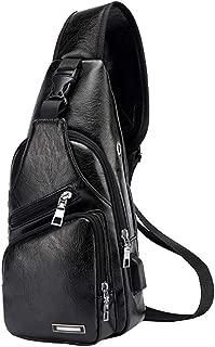Leather Sling Bag with USB Charging Port Large Mens Crossbody Shoulder Bag Travel Sling Chest Bag (Small Black)