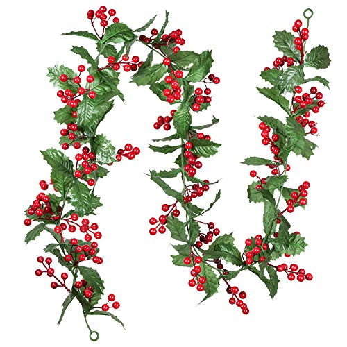 Artiflr Red Berry Christmas Garland, 6Foot Flexible Artificial Berry Garland for Indoor Outdoor Home Fireplace Decoration for Winter Christmas Holiday New Year Decor