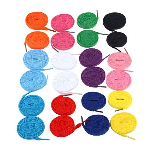 12 paar Ersatz flache Schnürsenkel Shoe Laces Zeichenfolgen (verschiedene Farben)