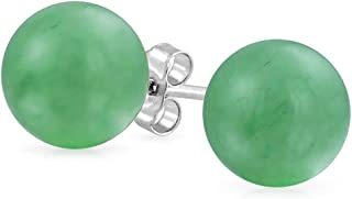 Simple 10MM Gemstone Round Ball Stud Earrings For Women For Teen 925 Sterling Silver 9 Birthstones More Colors