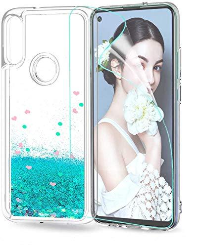 LeYi für Huawei P40 Lite E Hülle Glitzer Handyhülle mit HD Folie Schutzfolie,Cover TPU Bumper Silikon Clear Schutzhülle für Hülle Huawei P40 Lite E Handy Hüllen ZX Türkis