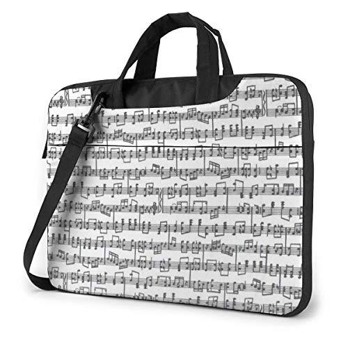 Bladmuziek met notities voor Decor Laptop Schouder Messenger Tas, 15.6 Inch Laptop Sleeve Draagtas