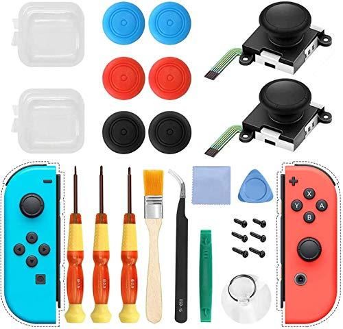 2Pack 3D Analog Joystick Daumen Sticks Ersatz Werkzeuge Kit für Nintendo Switch Joy-Con Controller,Joystick Reparatur Tool Kits 23PCS, Einschließlich 6 Thumbstick-Kappen