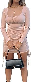Vestido Corto de Manga Larga de Verano para Mujer Vestido Corto Delgado con cordón Plisado de Color sólido