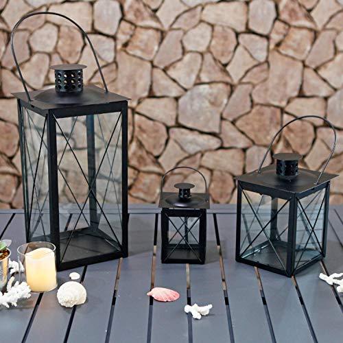 Mojawo 3'er Set Gartenlaternen Metall Windlicht Laternen Kerzenhalter Set Höhe 16/20/36cm mit Metallgriff Schwarz