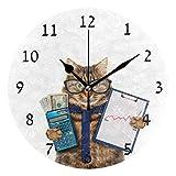 Xukmefat Wohnkultur Krawatte Gläser Geld Dollar Rechner Katze Buchhaltung Große Dekorative Runde Wanduhr 10 Zoll Stille Nicht Ticki