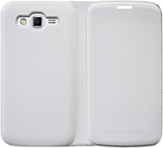 Coverage Leather Flip Cover for Samsung Galaxy Grand 2 - Milky White