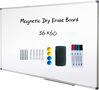 Magnetic Dry Erase Board, Whiteboard, Wall Mounted, 60 x 36 Inch, White Board, Silver Aluminium Framed with Lacquered Steel Surface