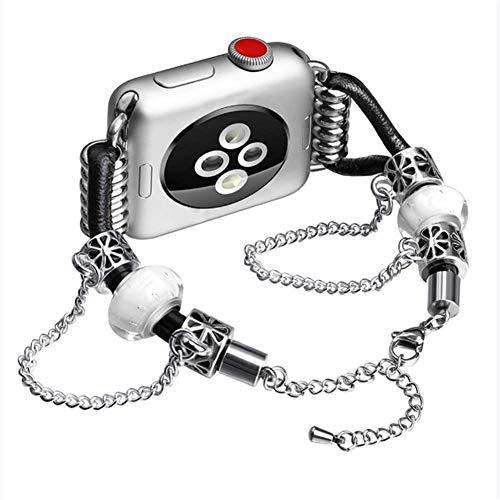 QWJUN Armband für Apple Watch, Metall, Lammfell-Kette, Leder, verstellbares Armband für iWatch Serie 5/4/3/2/1, 42/44mm