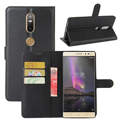 HualuBro Lenovo Phab 2 Plus Hülle, Leder Brieftasche Etui Tasche Schutzhülle HandyHülle [Standfunktion] Leather Wallet Flip Hülle Cover für Lenovo Phab 2 Plus (Schwarz)