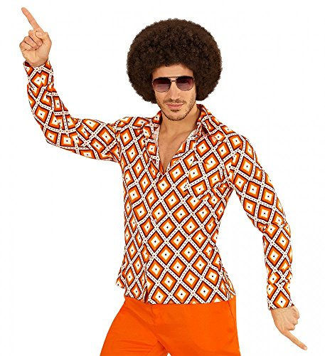 70er Jahre Retro Hemd mit und ohne Muster Disco Herren Kostüm Siebziger Schlager, Größe:S/M;Farbe:Rhombus