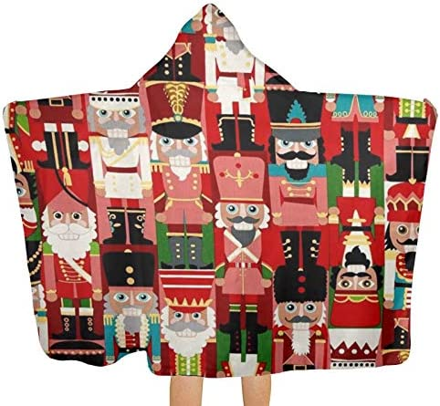 Christmas Time Nutcracker Beach Towel with Hood Microfiber for Surfing Swimming Bathing product image