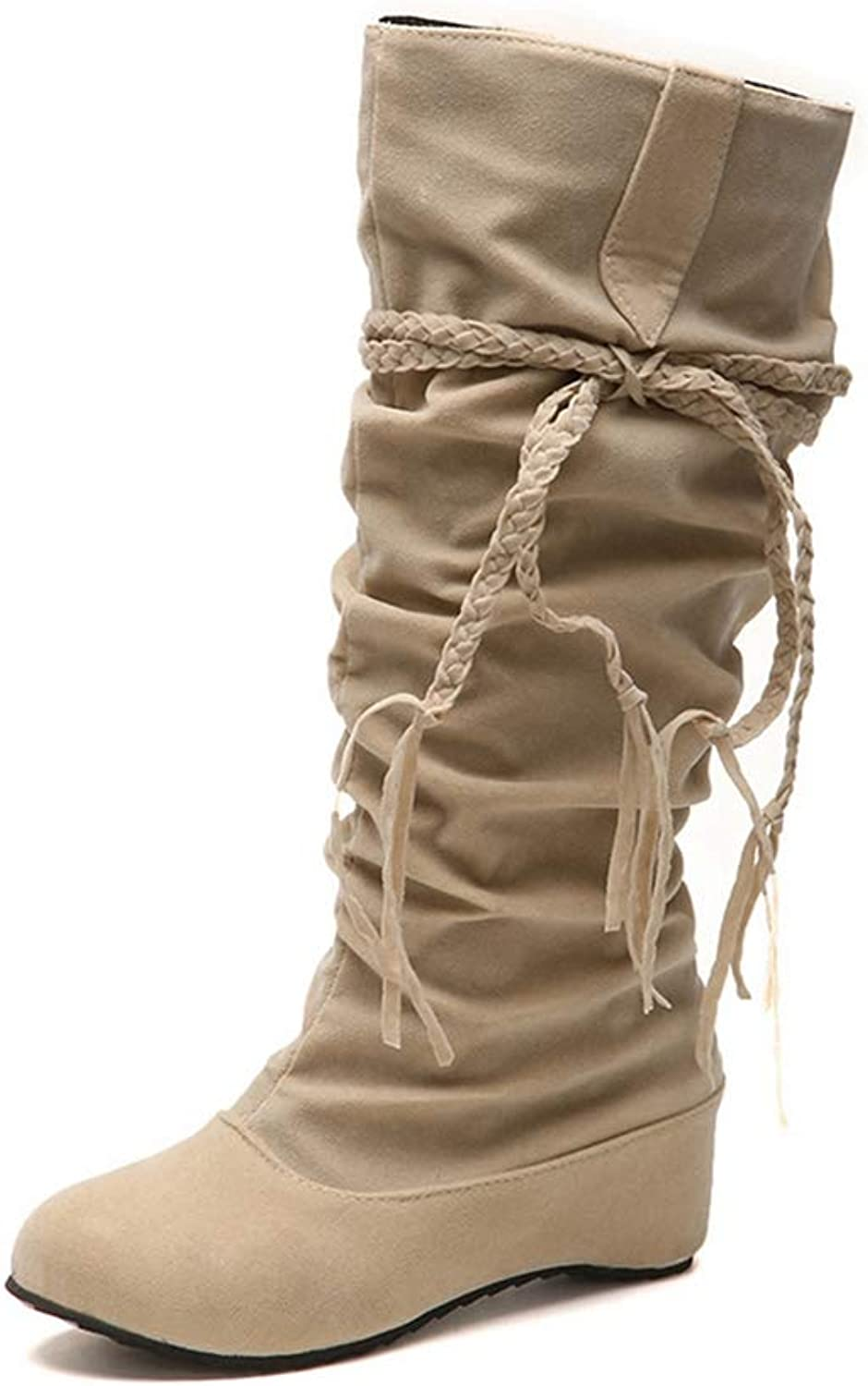 NOMIMAS Women's Mid-Calf Boots Weaving Tassels Increasing Height shoes Casual Low Heels Botas Fashion
