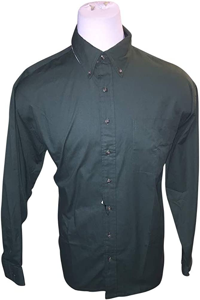 Big and Tall All Cotton Field and Stream Solid Hunter Green Casual Shirt