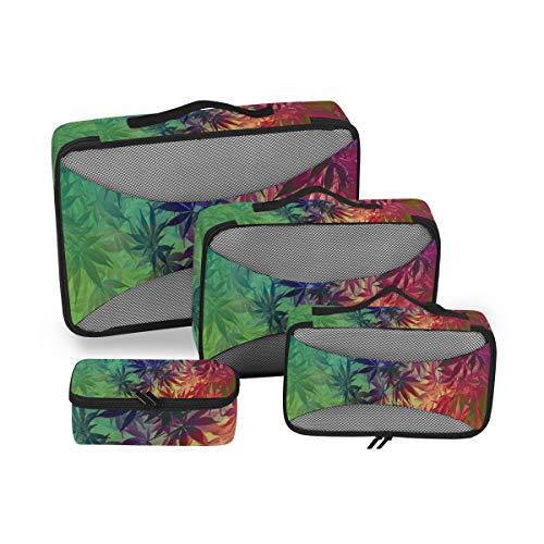 QMIN Juego de 4 cubos de embalaje de viaje, hojas de cáñamo de cannabis, bolsas de malla organizadoras de equipaje de mano, bolsas de almacenamiento para maleta de viaje mochilas