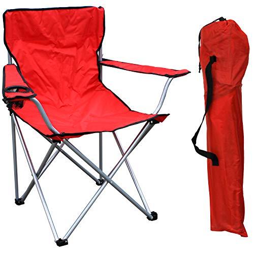FineHome Silla de camping, pescador, silla plegable, silla de director, silla de director, color rojo, incluye soporte para bebidas y bolsa, soporta hasta 120 kg