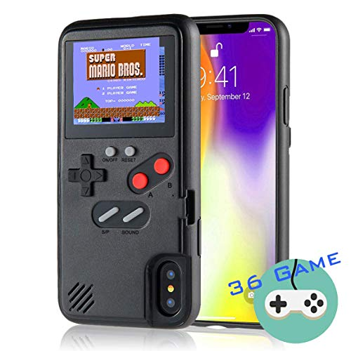 Gameboy Case for iPhone, Autbye Retro 3D Phone Case Game Console with 36 Classic Game, Color Display Shockproof Video Game Phone Case for iPhone (for iPhone Xs Max, Black)
