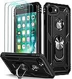 iVoler Funda para iPhone 8 / iPhone 7 / iPhone 6s / iPhone 6 + [Cristal Vidrio Templado Protector de Pantalla *3], Anti-Choque Carcasa con 360 Grados Anillo iman Soporte, Hard Silicona TPU Caso, Negro