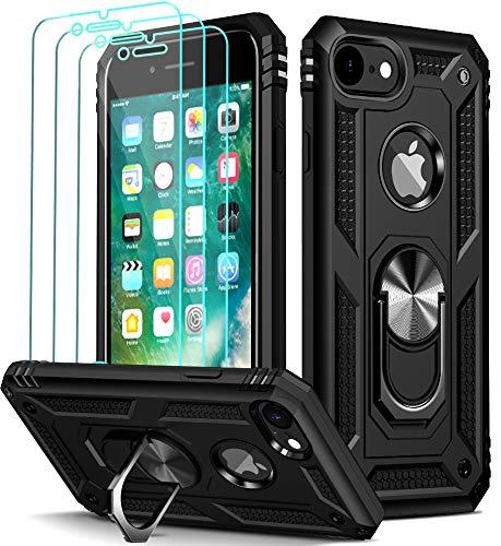 ivoler für iPhone 8 / iPhone 7 / iPhone 6s / iPhone 6 Hülle mit [Panzerglas Schutzfolie *3], Stoßfest Handyhülle Anti-Kratzer Schutzhülle Hülle Cover mit 360 Grad Ring Halter, Schwarz
