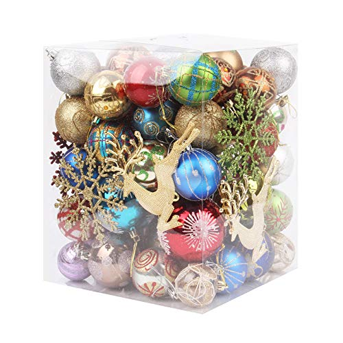 """hmercy 60-70 PCS Christmas Ornaments - Surprised Random Plastic Christmas Ornaments Set Include 1.2""""-3.1"""" Different Ball Ornaments - Shatterproof Christmas Hanging Decoration for Christmas Tree"""