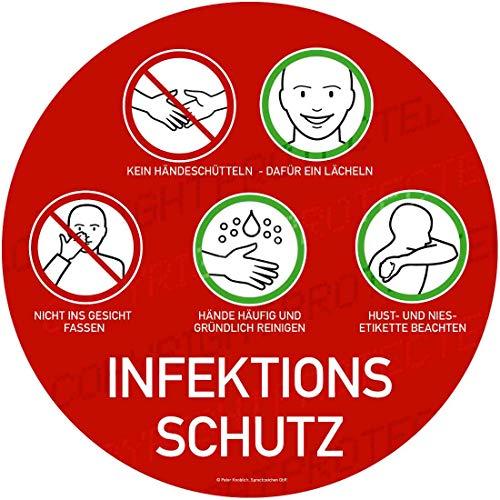 Hinweisschild Schutz vor Ansteckung Infektionsschutz Hygienemaßmahme 32x32cm | Corona-Schutz