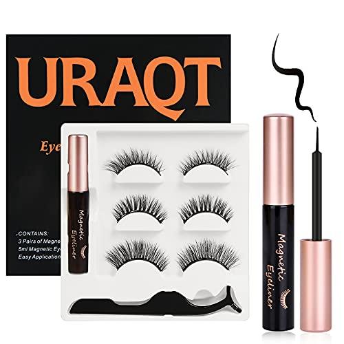 URAQT Pestañas Postizas Magneticas, 3D Magnetic Eyelashes Naturales Magnéticas Reutilizables, 3 Pares, con Delineador de Ojos y Pinzas
