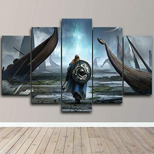 BHJIO Impresiones sobre Lienzo 5 Cuadros En Lienzo Modernos Dormitorios Murales Pared Lona XXL Grande Hogar Cuadros Décorer A Salón Piezas Viking Warrior Ship