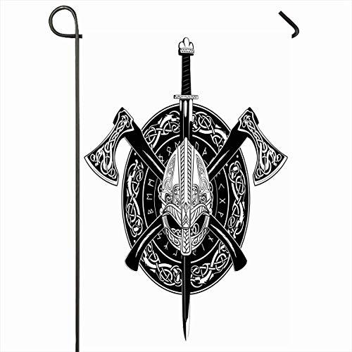 Outdoor Garden Flags 12,5 'x 18' Zoll Schlacht Silber Alten Wikingerhelm gekreuzte Äxte Kranzmuster Vintage Ritter Odin Schwert Fantasie vertikale doppelseitige Home dekorative Haus Hof Zeichen