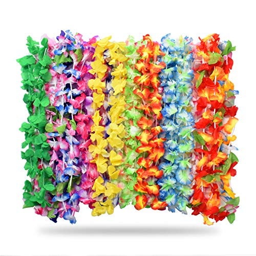 Alcoon 36 Pieces Tropical Hawaiian Luau Flower Lei Garland Hawaiian Necklace Set for Luau Summer Beach Party Decorations Favors