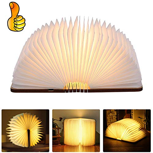 Buchlampe Faltbar, Lzfitpot magnetisches LED-Licht aus Holz, Warmweiß Stimmungsbeleuchtung Nachttischlampe dekorative Lichter Lampen braunes Papier, hell genug für das Ablesen, Ideal Geschenk