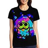 スプラトゥーン2 レディース 半袖 ティーシャツ カジュアル 3D プリント 運動 半袖 メンズ Tシャツ Black