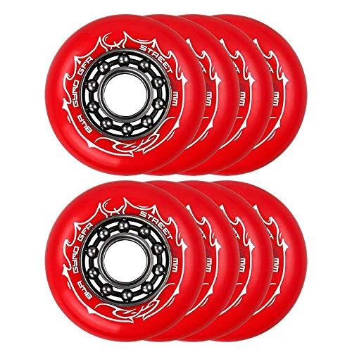 HJGHY Ruedas de Patín en Línea 84A, Ruedas Traseras de Patineta, Par de Repuesto para Patines en Línea y Patineta,Rojo,80mm