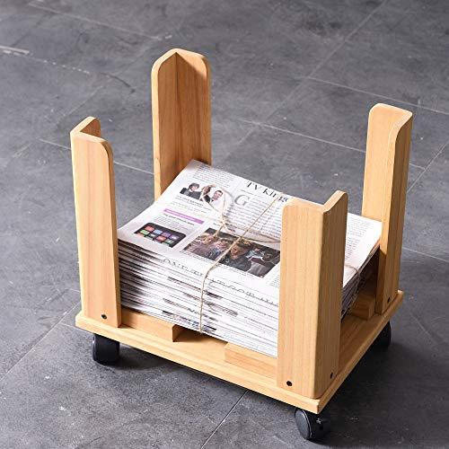 KIRIGEN新聞ストッカー木製新聞ラック雑誌収納新聞入れ日本語取説付きキャスター付組み立て簡単ナチュラル