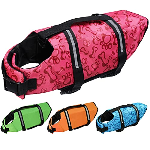 Cielo Meraviglioso Dog Life Jacket, Dog Swimsuit Safety Flotation Vests Pet Life Preserver Savers with Lift Handle Reflective Stripes for Small Medium Large Dogs Swimming Boating (Pink, Large)