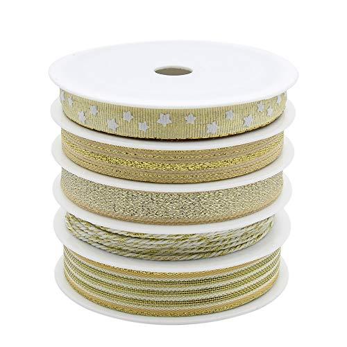 BeiLan 50m (5 Rollos x 5m) Oro Tela Cinta para Boda, Vacaciones, Decoracion del hogar, Papel de Regalo