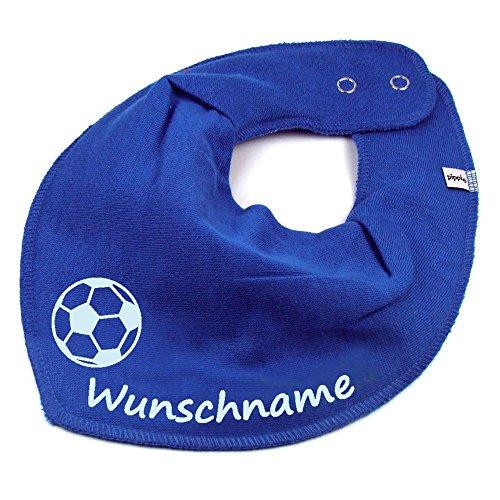 Elefantasie Halstuch Fußball mit Namen oder Text personalisiert Mittelblau für Baby oder Kind