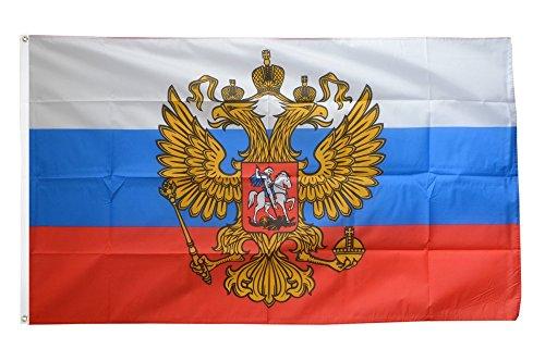 Fahne / Flagge Russland mit Wappen + gratis Sticker, Flaggenfritze®