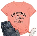Grandma Life T Shirt Women Cute Grandmother Tee Funny Mothers Day Tops Summer Casual Clothes Orange