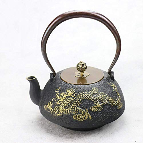 Tetera,Tetera de hierro fundido,Juego de tetera Juego de té de hierro fundido Sur Olla de hierro fundido SsangYong Jingyun Hierro Pot Hervidor Té Set 1000Ml Decoración del hogar Presente