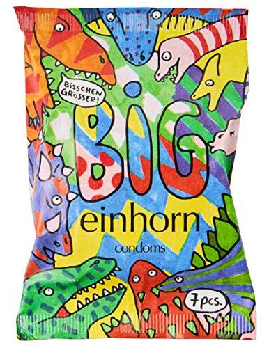 einhorn Kondome Big (57mm) 7 Stück Wochenration Design Edition: Vegan, Hormonfrei, Feucht, Geprüft, XL