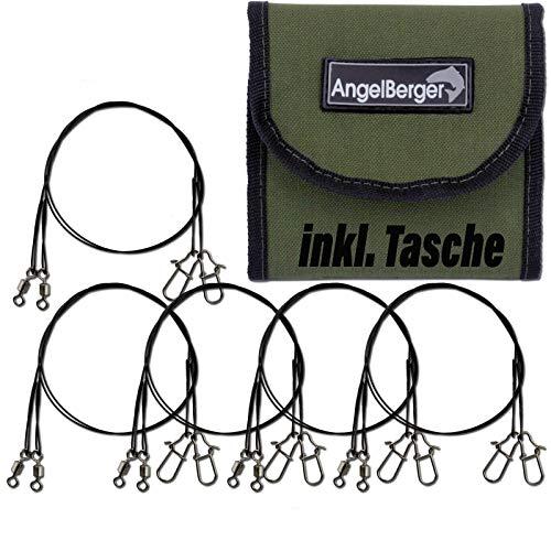 Angel-Berger Stahlvorfachsortiment mit Tasche Spinvorfachsortiment Stahlvorfach