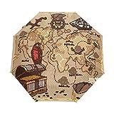 Paraguas de viaje compacto con diseño de mapa de pirata vintage, para exteriores, lluvia, sol, coche, toldo reforzado, protección UV, mango ergonómico, apertura y cierre automático