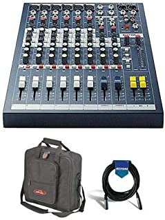 Soundcraft EPM6 6 Mono + 2 Stereo Channel Recording & Live Sound Audio Console - Bundle With SKB Universal Equipment/Mixer Bag, 20' Heavy Duty 7mm Rubber XLR Microphone Cable