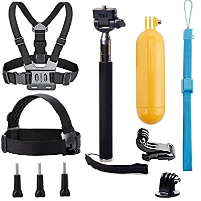 VVHOOY Universal Action Camera Accessories Bundle-Head Chest Strap Mount/Selfie Stick/Floating Hand Grip Compatible with Campark ACT74/Dragon Touch 4K/AKASO EK7000 Brave 4 5 6/Vantop Moment from VVHOOY