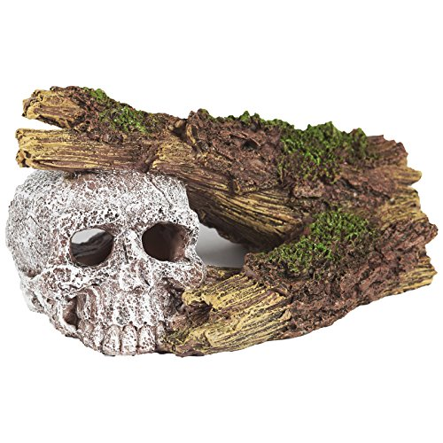Pet Ting Sunken Skull and Broken Log Aquatic Ornament - Aquarium Decoration - Vivarium Decoration